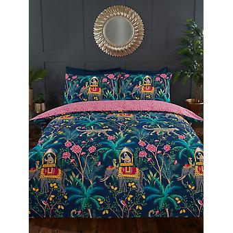 Jungle Expedition King Size Duvet Cover Set - Navy