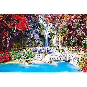 Seinämaalaus Tat Kuang Sin vesiputous sademetsässä (Laos)