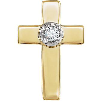 14k žluté zlato náboženské víry kříž klopa pin s diamantem 9x7mm šperky dárky pro muže - .01 cwt