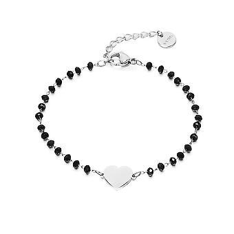 Bracelet à chaîne de perles de cristal noir