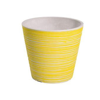 Yellow And White Engraved Pot