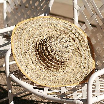 Yellow Balinese Pecatu Wide Round Straw Hat