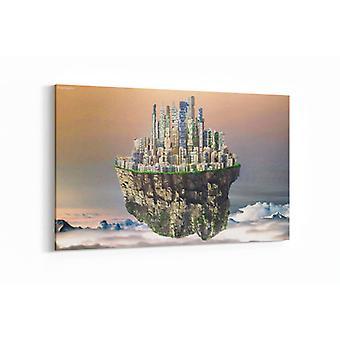 Schilderij - In de hemel met stad — 90x60cm