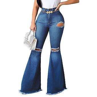 חדש קרע ג'ינס בל בוטום וינטג' ג'ינס סקיני התלקחות מכנסיים נשים מתוחות