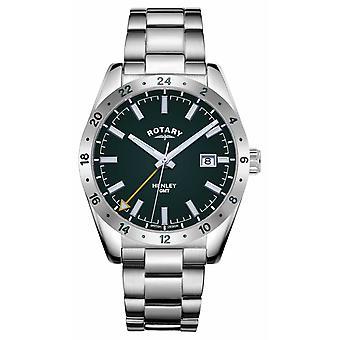 Rotary Mens   Henley   GMT-  Green Dial   Edelstahl Armband GB05176/24 Uhr