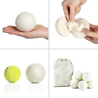 6pcs Wool Felt Balls Round White Color Dryer With Felt Dryer Ball