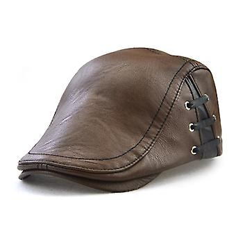 Lace-up Pu Leather Newsboy Caps, Casual Spring/autumn/winter Casquette Flat Cap
