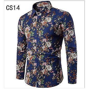 メン&アポスの秋のプリントシャツ 男性スリムフィット長袖シャツメンズフローラルプリントカジュアルシャツ