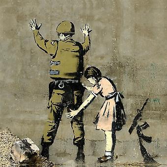 Bild Inspirationen Autor Bansky Polizist und bunte Mädchen in Holz, Baumwolle, L60xP60xA3 cm