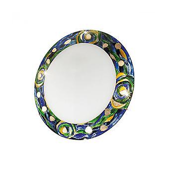 Serena Plafón De Diseño En Oro De 24 Quilates, 3 Focos, Pantalla Azul