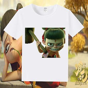 Cartoon Anime Nezha Magic Print Short Sleeve T- Shirt, Skateboarding Sportswear