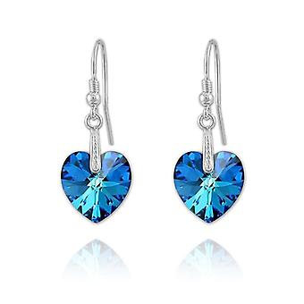 Silver drop earrings with blue crystal hearts