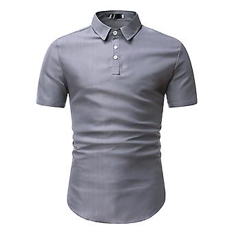 Swotgdoby Men's Solid Color Lapel Pointed Collar Business Casual Short-sleeved T-shirt