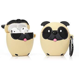 Silikonikotelo yhteensopiva Airpods 1&2 [Cute Animal Pet Series] (Pug Dog)