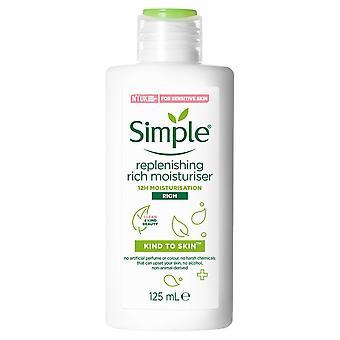 6x of 125ml Simple Kind to Skin 12H Moisturisation Replenishing Rich Moisturiser