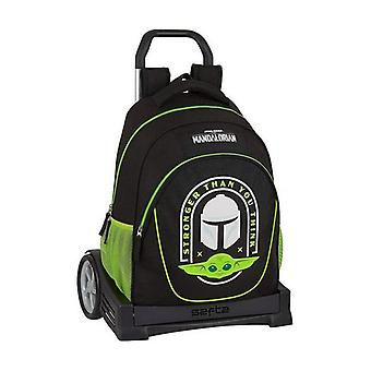 School Rucksack with Wheels Evolution The Mandalorian Black Green