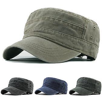 Casual algodón soldado denim sombrero de sol visera sólido plano