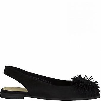 Svarta avslappnade lågklackade sandaler