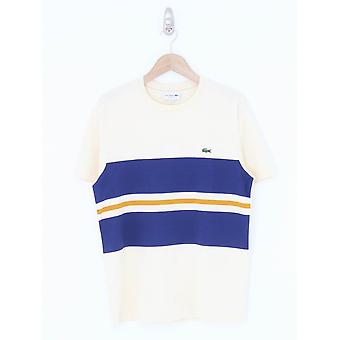 Lacoste Colour Block Logo Tee - Beige/Navy
