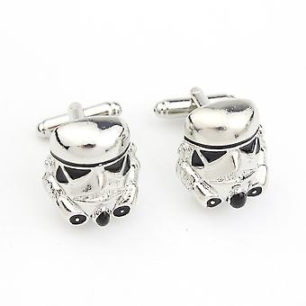 Cufflinks Star Wars Galactic Empire Imperial Storm Trooper Mask Cuff Buttons Silver Plated Cuff Links