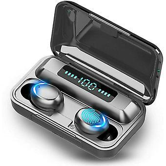 Bluetooth-kuuloke, langaton Bluetooth 5.0 -kuulokkeet, kuulokkeet ja kuulokkeet Kuulokemikrofoni Mic Sport -kuulokkeet, joissa on 2200 mAh LED-kannettava latauskotelo, kosketusohjaus, iphone Android Samsungille (musta)