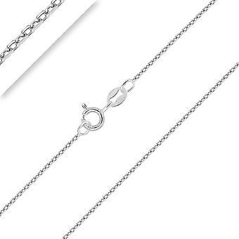 HanFei - AnkerKette Diamantiert 925 Sterling Silber Rhodiniert Kette - Halskette - 1 mm Breite -