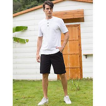 Janmid Men's Linen Casual Classic Fit Short Black M