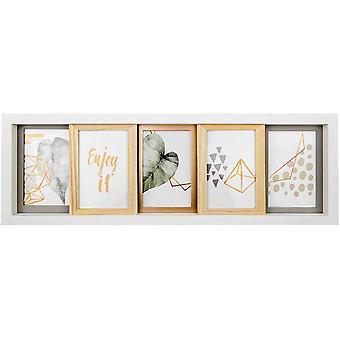 FengChun 5er Bilderrahmen Collage zum Schieben, Wei und Mixed, 5X 10x15 cm