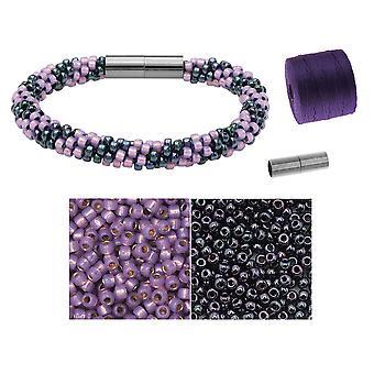 Refill - Splendid Spiral Kumihimo Armband i Lila och Gun Metal - Exklusivt Beadaholique Smycken Kit