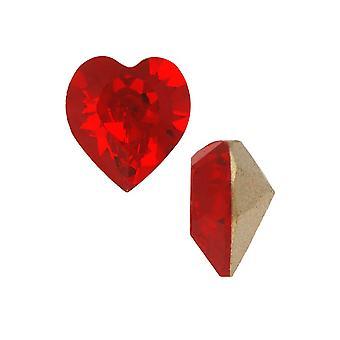 Swarovski Crystal, #4884 Xilion Heart Fancy Stone 8.8x8mm, 2 stykker, Light Siam F