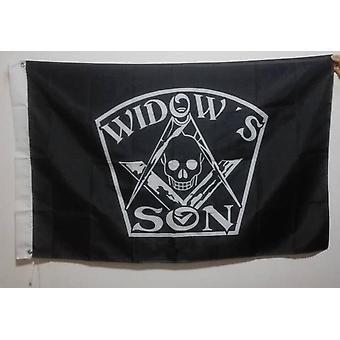 Widow's son black masonic flag