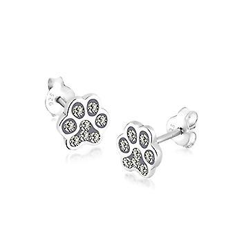 Elli Women's Pearl Earrings in Silver 925 with Swarovski Crystals, Paw Pattern