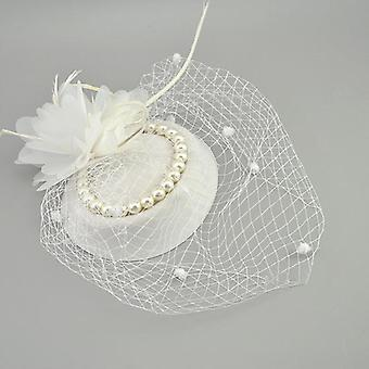 Vintage Birdcage, Net Bridal With Feather Pearl Hat