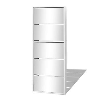 gabinete de zapatos vidaXL con 5 compartimentos Mirror White 63×17×169,5 cm