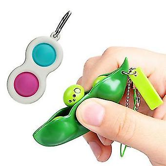 Style 1 simple dimple fidget toys with squeeze bean fidget toystress relief hand toys keychain sensory toys x1264