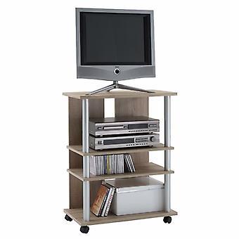 FMD TV/Hi-Fi shelf with 3 compartments 65×40×79.2 cm oak brown