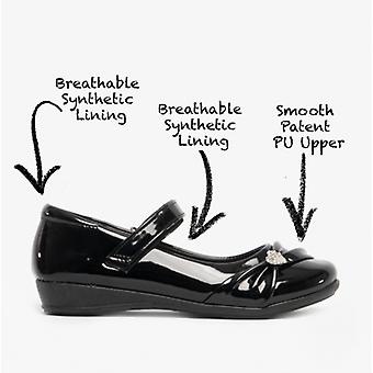 US Brass Paige Ii Girls Touch Fastened Diamante Bar Shoes Patent Black
