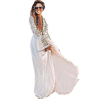 תחרה נשים קרדיגן בגדי חוף שרוול ארוך Suncreen ביקיני לכסות