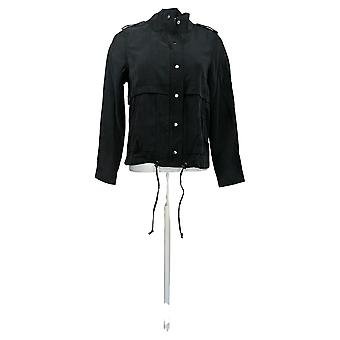 We By Living In Yellow Women's Zip-Front Utility Jacket Black 733698