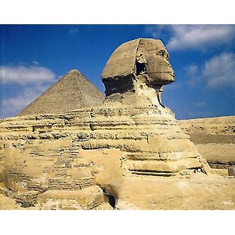 Giza. Grote Sfinx en. Grote Piramide van Gizeh. Grote ingelijste foto. De Gizeh sfinx. 26e-25e eeuw.