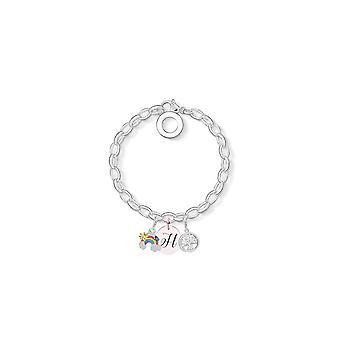 Rainbow Charm Armband täckt med kristaller från Swarovski - Initial H