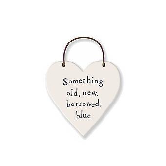 Old, New, Borrowed, Blue - Mini Wooden Hanging Heart - Wedding Cracker Filler Gift