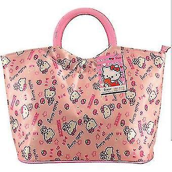 Tote bag waterproof printing Oxford cloth storage bag round mouth tote bag cartoon KT cat children's