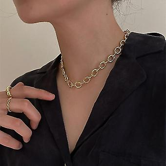 Toggle Clasp Gold Necklaces, Mixed Linked Circle, Minimalist Choker Jewelry(Link)
