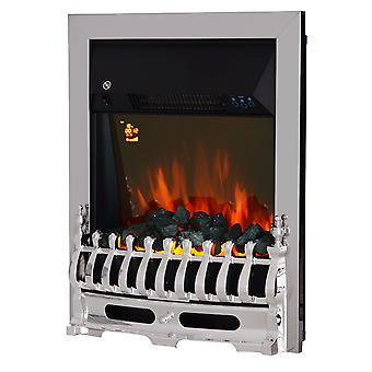 HOMCOM Contemporary Electric Fireplace Coal Burning Flame Effect Fire Place Heater Glass View LED Lighting w/ Remote 2KW Max SURROUND NOT INCLUDED