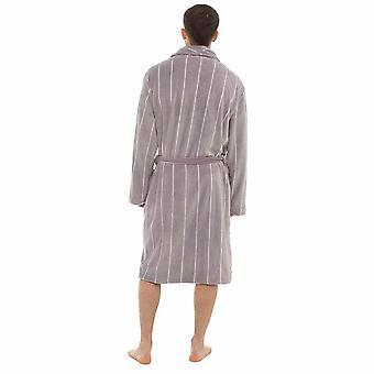 Mens Pinstripe Coral Fleece Bathrobe Dressing Gown XXL Grey