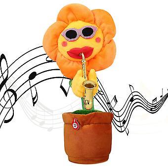 Giocattoli di peluche ripieni di girasole Sassofono elettrico Che balla e canta giocattolo per bambini