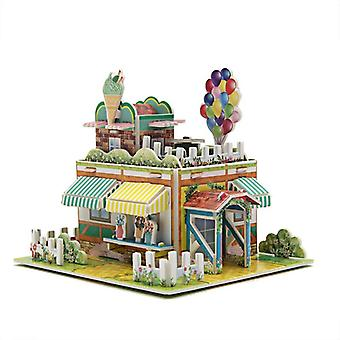 Kids 3d stereo puzzle cartoon house castle building diy handmade early learning educational toys gift for children