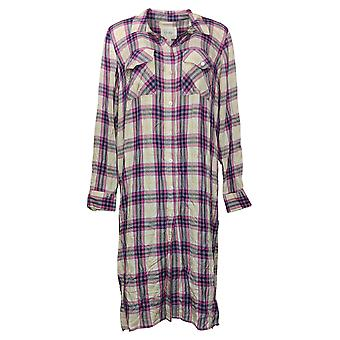Jessica Simpson kvinners topp knapp ned plaid duster skjorte lilla 674247