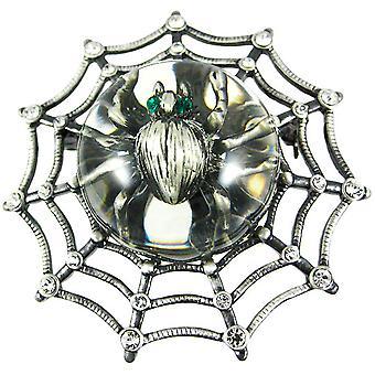 Rhinestone aksent edderkoppnett & Spider brosje Pin